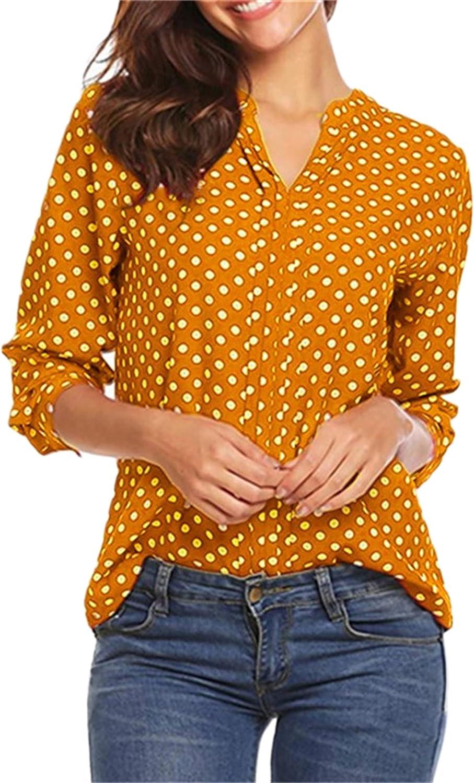 Andongnywell Womens Polka Dot Printed Button Shirts Long Sleeve Blouses Casual Dress Shirt V Neck Tops