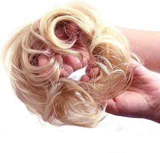 Bella Hair 100% Human Scrunchie Bun Up Do Hair Pieces Wavy Curly or Messy Ponytail Extension (#60 Platinum Blonde/Light Ash Blonde)