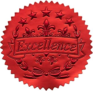 96 Award Stickers - Red Certificate Seals, Excellence Star Stickers for Award Certificates