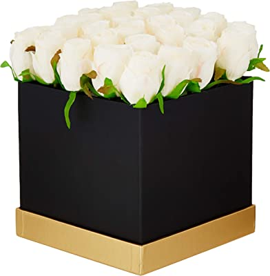 Fourwalls Artificial Rose Flowers in a Box for Valentines Day Gift (25 Flower in Box, 20 cm Tall, Black and White)