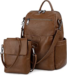 UTO Women Backpack Purse PU Washed Leather Ladies Rucksack Detachable Crossbody Shoulder Bag Brown