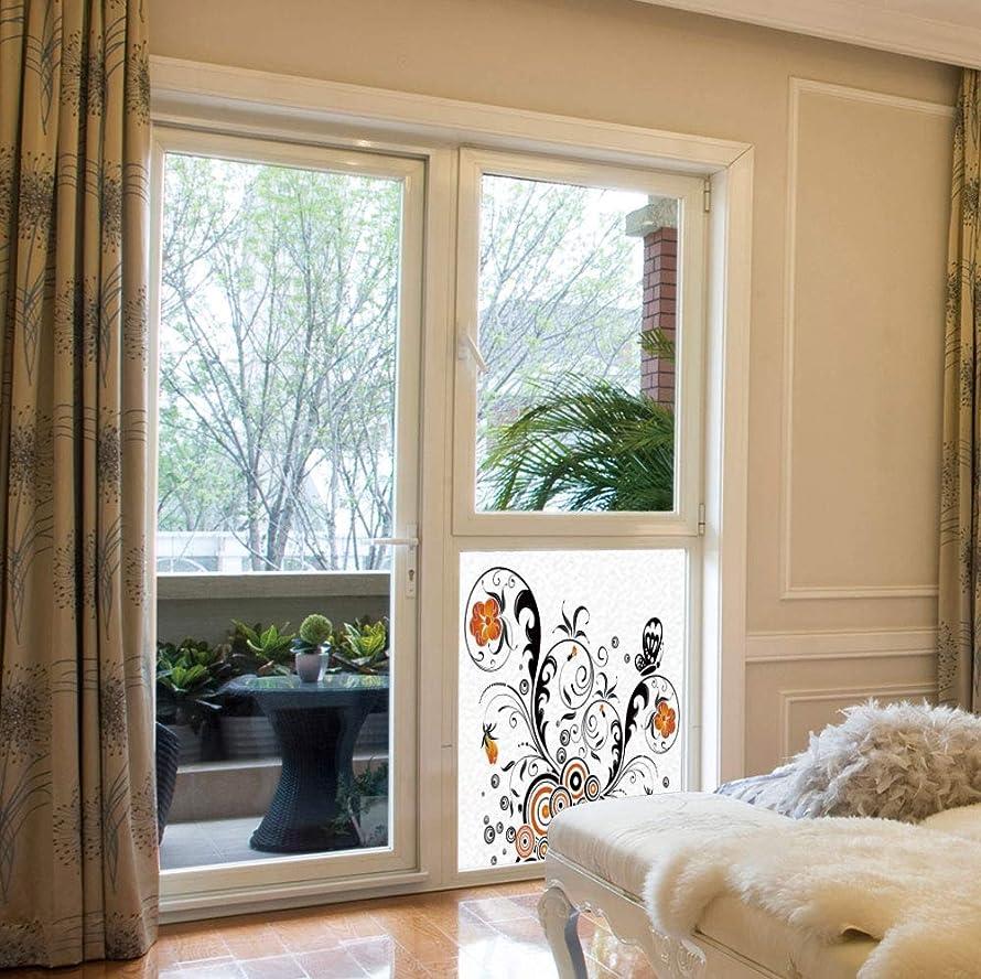 C COABALLA Ethylene Film Printing Design Window Film,Garden Decor,Suitable for Kitchen, Bedroom, Living Room,Floral Branches with Circular Petals and Butterflies Artful,17''x24''