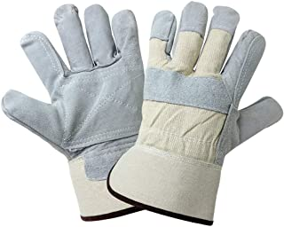 Global Glove 2250DP Leather Gunn Cut Premium Grade Double Palm Glove with Canvas Back and Safety Cuff, Work, Extra-Large (Case of 72)