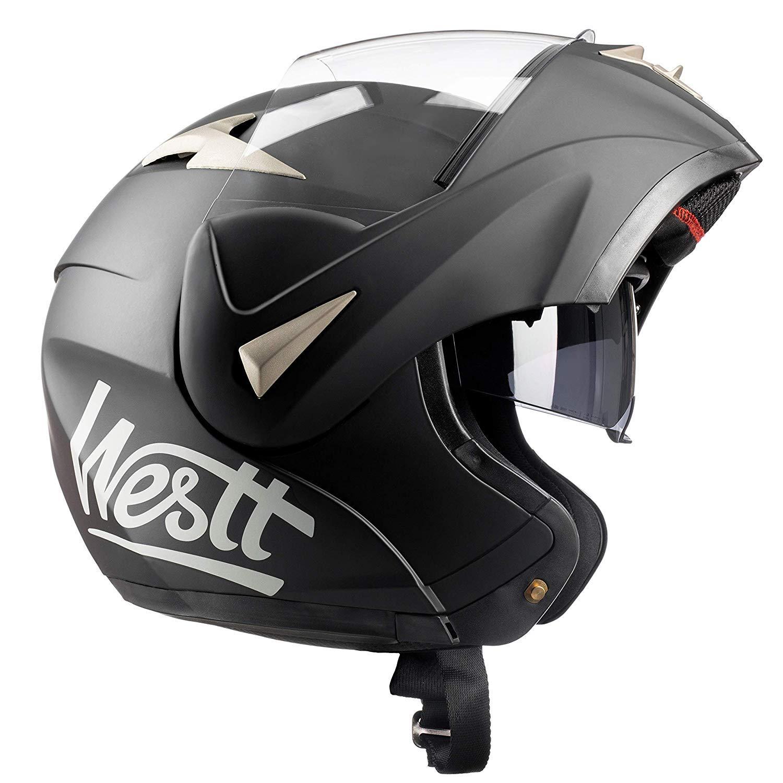 Amazon.es: Westt Torque - Casco De Moto Modular Integral Negro Mate con Doble Visera - Motocicleta Scooter - Certificado ECE