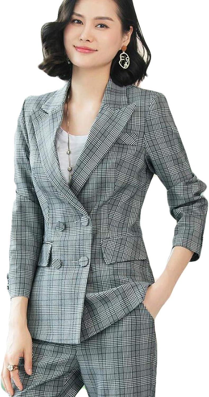 WZW Women's 2 Pieces Suits Work Wear Formal Blazer Set Office Business Coat and Pants