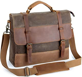 Tocode Mens Laptop Messenger Bags 14 inch, Water Resistant Leather Canvas Briefcase, Durable Satchel Shoulder Bags Large Computer Bags Office Tablet Bag for School, Work, Brown
