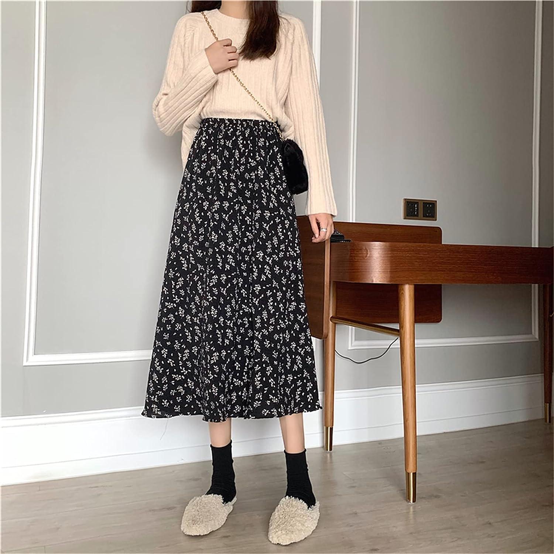 Women's Spring/Autumn New Retro Floral Chiffon High Waist Half Length Skirt Elastic Waist A-line Long Skirts