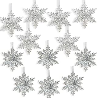 BANBERRY DESIGNS Acrylic Silver Glitter Snowflake Christmas Ornaments - Set of 12 Assorted Styles of Snowflakes - Clear Acrylic with Glitter - Winter Snowflake Decorations