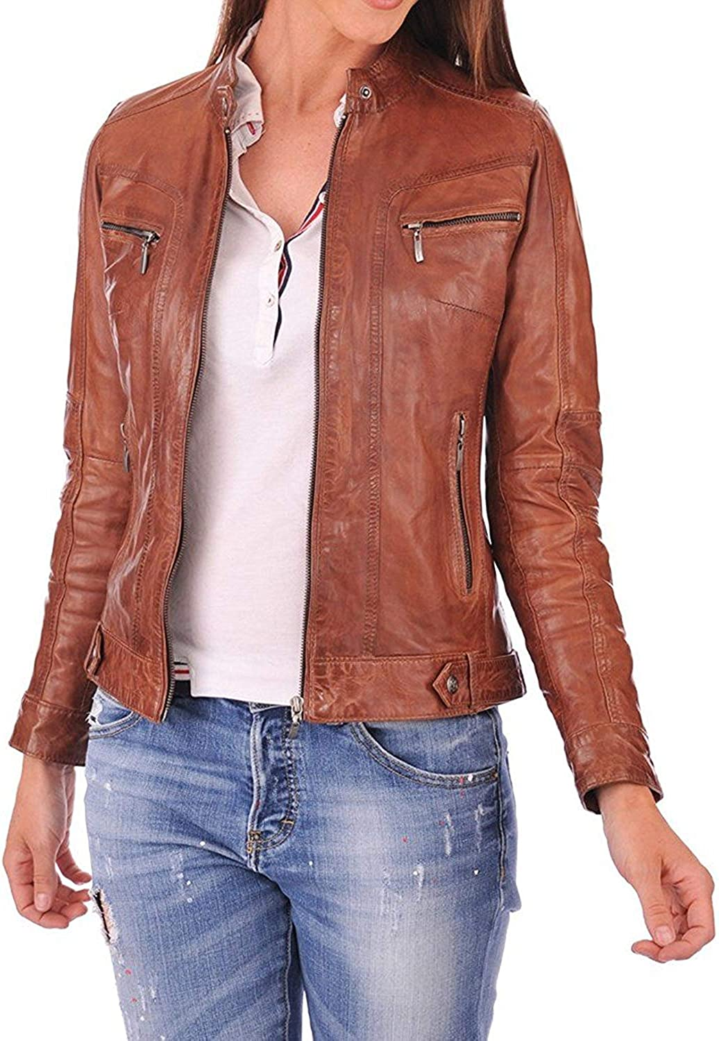 DOLLY LAMB 100% Leather Jacket for Women  Round Collar, Slim Fit & Quilted  Moto, Bomber, Biker Winter Casual Wear