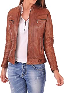 Dolly Lamb Women's Lambskin Leather Bomber Biker Jacket