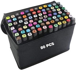80 Color Rotuladores Arte Dibujo Marcadores Arte Marker Pen Set de Pintura y Dibujo para Niños y Adultos