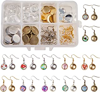 SUNNYCLUE 1 Box DIY 20 Pairs Cabochon Earrings Making Kit 40pcs Earring Bezel Earring Settings with 40pcs 12mm Clear Glass Cabochons, Earring Hooks(Dangle Earrings, 4 Color)
