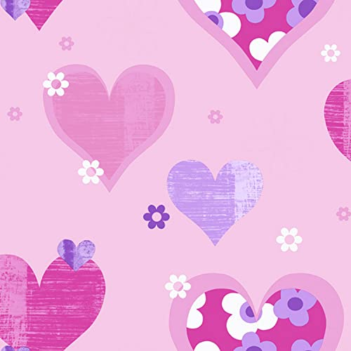 Arthouse 533701 Happy Hearts Wallpaper, Pink, 53 cm x 10.05 m