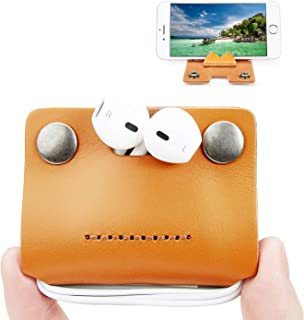 Earbud Holders Case Cord Organizer Earphone Wrap Earphones Organizer Headset Headphone Earphone Wrap Winder Cable Winder Genuine Leather Handmade with Cell Phone Stand Orange