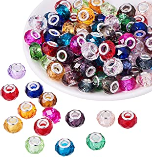 PH PandaHall 100pcs 14mm Mixed Color Glass European Beads with Plating Silver Double Cores Large Hole Beads for Jewelry Making, Hole: 5.5mm