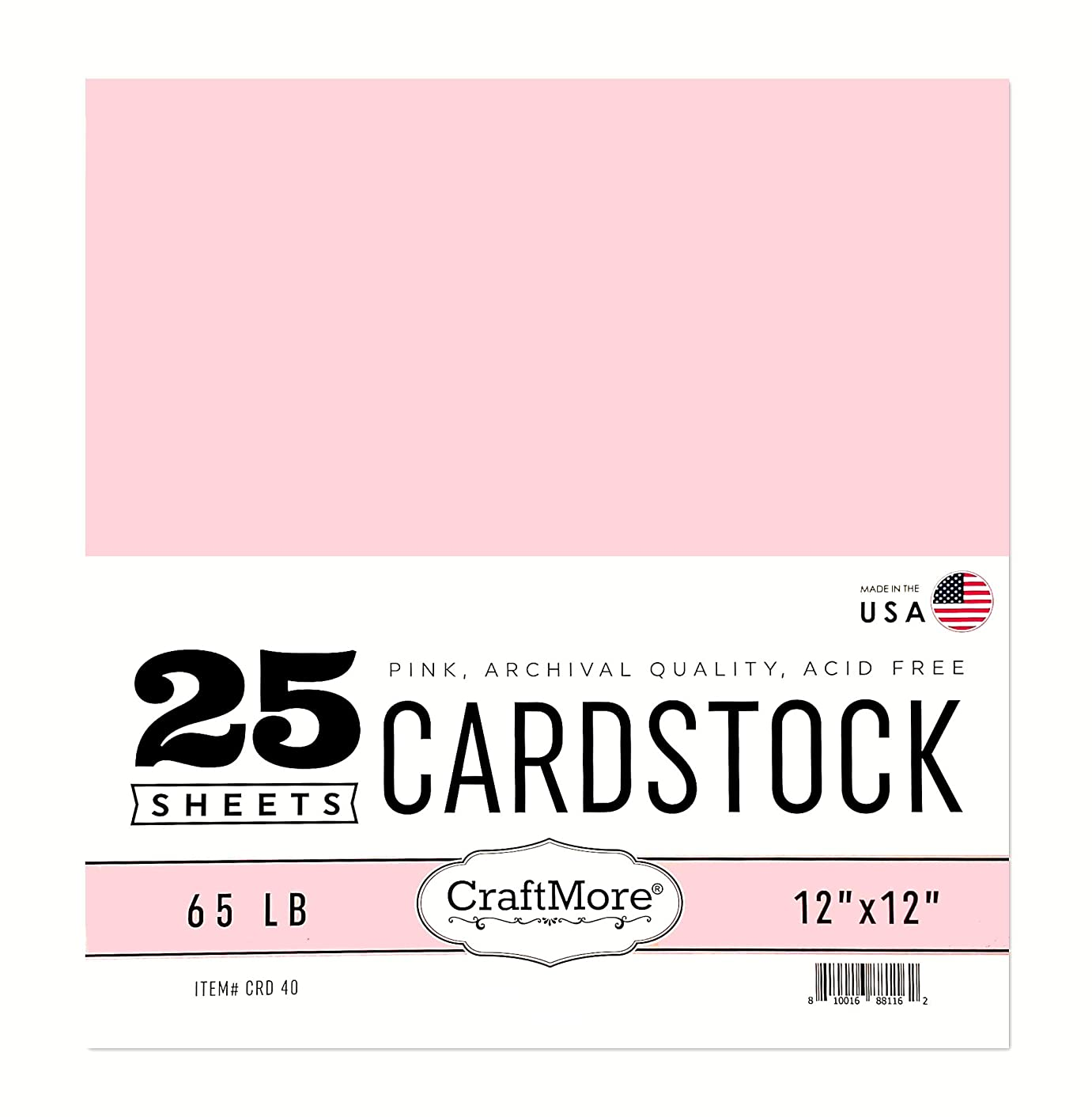 CraftMore Card Stock Paper 12x12 Inch Pink 25 Sheets