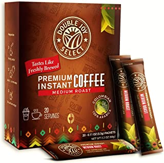 20 Instant Coffee Packets - Instant coffee singles Tastes Like Freshly Brewed - Medium Roast Colombian Blend Coffees for Travel or Work By Double Joy Select…