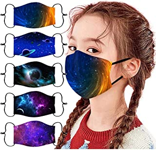 Gpure 5 Pièces 𝐌𝐀𝐒𝐐𝐔𝐄 Pour Enfants Avec Poche De Filtre Galaxy Planet Lavable Réutilisable Anti-Poussière Bandanas R...