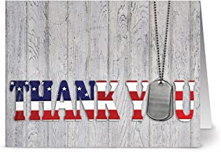 Note Card Cafe Patriotic Greeting Cards Set with Envelopes | 24 Pack | Thank You For Your Service | Blank Inside, Glossy Cover | For July Fourth, Christmas, Holidays, Birthdays, Thank Yous, Ceremonies