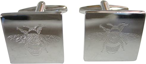 Kiola Designs Silver Toned Etched Bumble Bee Cufflinks