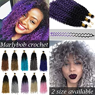 [3 Bundles/PACK]Marlybob Crochet Hair Extension Marlibob Water Wave Kinky Curly Jerry Curly Braiding Crochet Hair Marley Braid Hair Bundle Synthetic Hairpiece (14