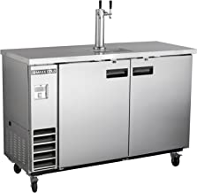 Maxx Cold MXBD48-1S Commercial Stainless Steel NSF Bar Direct Draw Kegerator Beer Dispenser Cooler with 1 Single Tower Tap Holds 2 Half 1/2 Size Keg, 47.5 Inch Wide 10.5 Cubic Feet, Silver