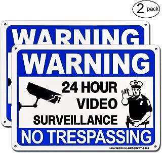 Video Surveillance Sign 2 Pack, No Trespassing Metal Warning Sign, 10