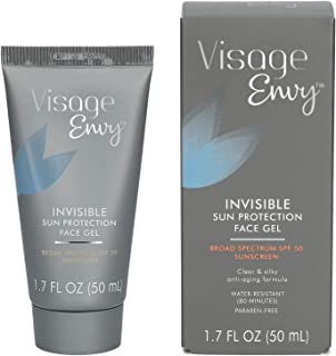 Visage Envy Invisible Sun Protection Face Gel SPF 50 - Water-Resistant Paraben-Free Anti-Aging Sunscreen with Red Algae and Omega 3,6,9 for Hydrating and Moisturizing Sensitive Skin - 1.7 Ounce