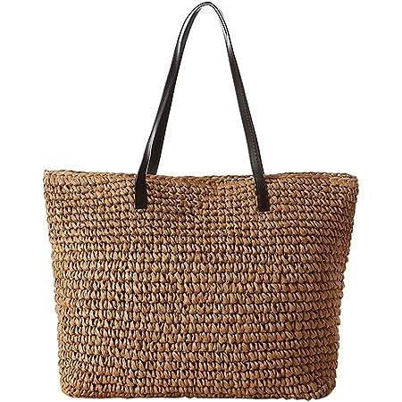 TININNA Sommer Frauen stilvolle einfache Strand Beutel Stroh Beutel Freizeit Schulter Beutel Spielraum Einkaufstasche (Hellbraun) EINWEG Verpackung