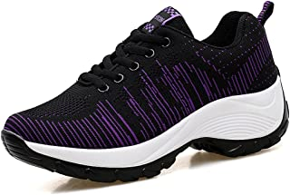 WEONEDREAM Lightweight Breathable Girls Womens Casual Sports Shoes Thick Heel(5cm) Lace Up Mesh PU Ultra-light Walking Sneakers