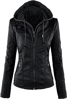 VearFit Women's Hooded Black Biker Motorcycle Faux Leather Jacket Missy Regular & Plus Size