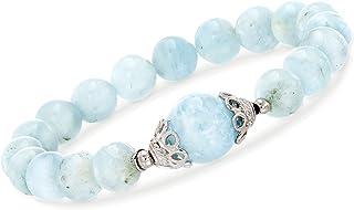 90.00 ct. t.w. Milky Aquamarine Beaded Stretch Bracelet...