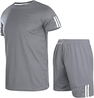 Men's Casual Tracksuit Short Sleeve T-Shirts and Shorts Summer Activewear Athletic Sports Suit Set