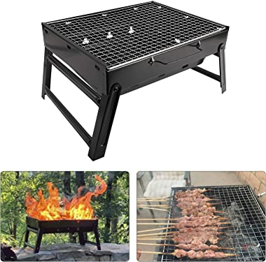 XMSound Portable Charcoal Grill - Stainless Steel Folding Grill Tabletop Outdoor Smoker BBQ for Picnic Garden Terrace Camping