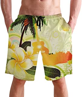 FFY Go Beach Shorts, Hawaiian Pattern Printed Mens Trunks Swim Short Quick Dry with Pockets for Summer Surfing Boardshorts...