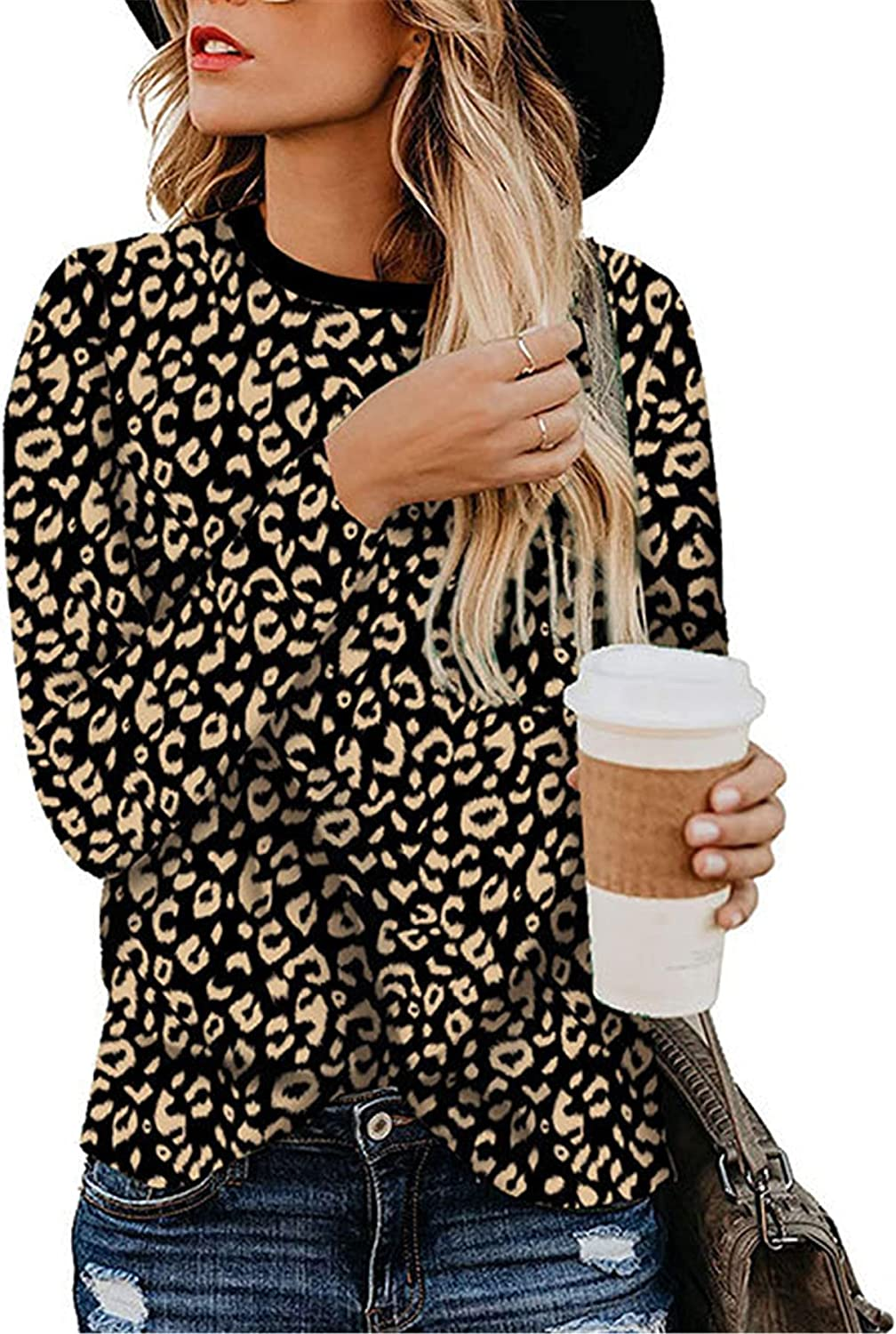 Andongnywell Women's Large Size Casual Tops Leopard Printed T-Shirt Basic Long Sleeve Comfy Blouse Tunics