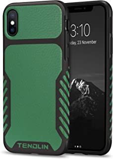 TENDLIN Compatible with iPhone Xs Case/iPhone X Case Leather Texture TPU Hybrid Grip Case (Green)