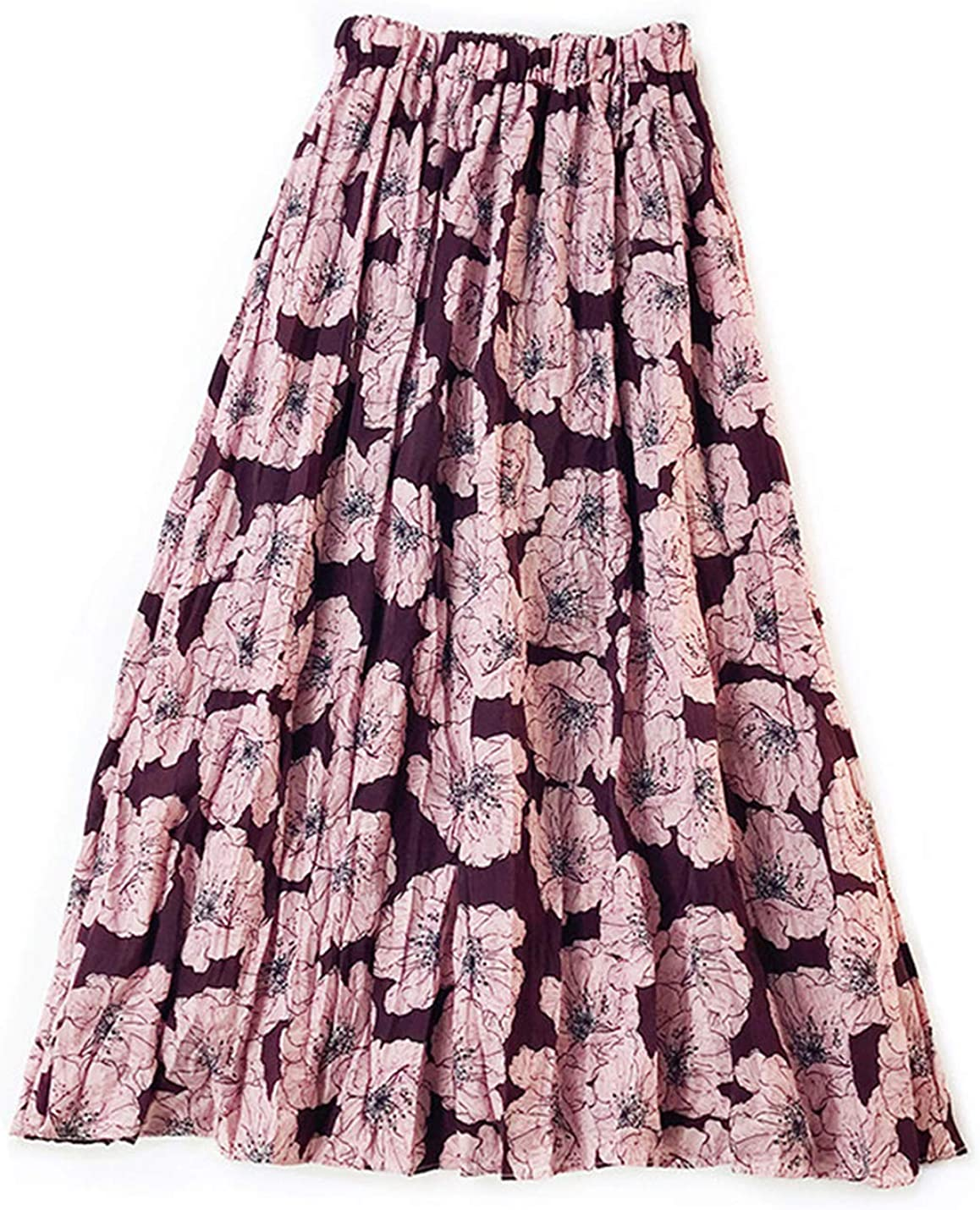 Gihuo Women's Casual Vintage Floral Boho Pleated Midi Skirt
