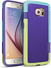Galaxy S6 Case, TILL(TM) 3 Color Hybrid Dual Layer Shockproof Case [Extra Front Raised Lip] Soft TPU & Hard PC Bumper Protective Case Cover for Samsung Galaxy S6 S VI G9200 GS6(Purple/Blue/Green)