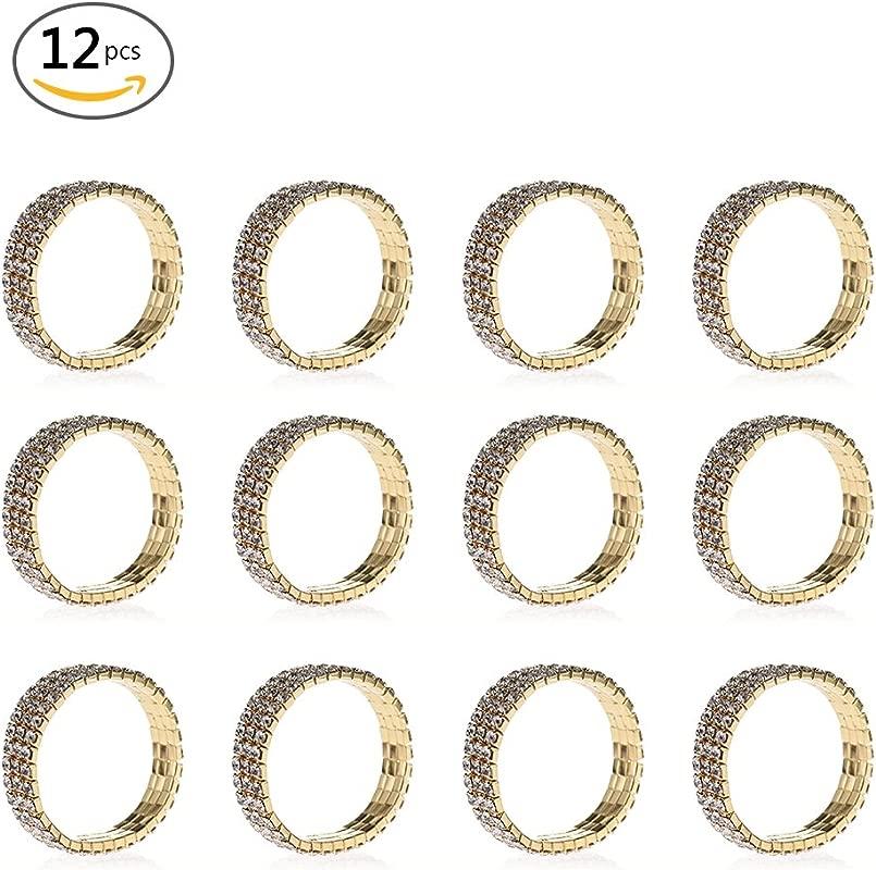 SHZONS Napkin Rings 12pcs Elastic Stretchy Rhinestone Napkin Rings
