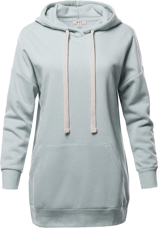 Women's Relax Fit Long Sleeve Kangaroo Pockets Hoodie Sweatshirts