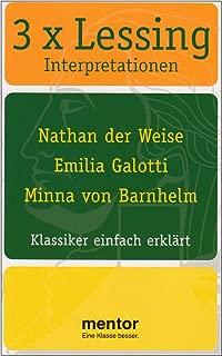 3 x Lessing Interpretationen: Nathan der Weise, Emilia Galotti, Minna von Barnhelm