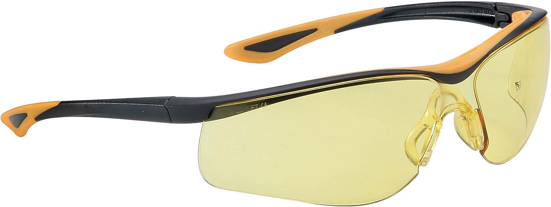 Dunlop DL0100005 Gafas de protección con lente amarilla de alta visibilidad, Negro