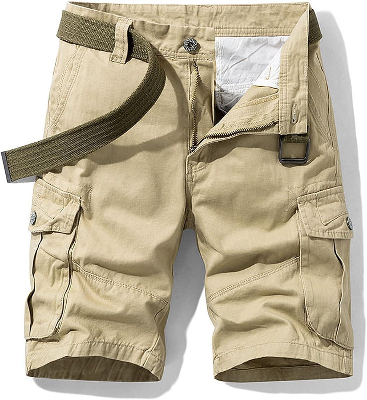 Dellk Men's Solid Color Cargo Shorts Summer Mid