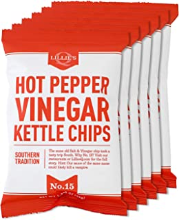 Lillie's Q - Hot Pepper Vinegar Kettle Chips, Spicy Salt & Vinegar Potato Chips, Small Batch Kettle Chips, Individual Bags...