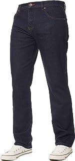 Kruze Mens Jeans Basic Regular Fit Straight Leg Denim Trousers Pants All Waist