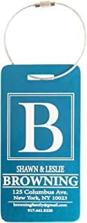 Personalized Luggage Tags Engraved Design - Elegant and Durable Travel Suitcase Name Tags (Aqua Browning Design, 1 Luggage Tag)