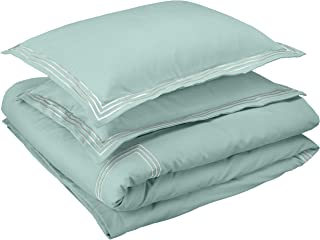 AmazonBasics Premium Embroidered Hotel Stitch Duvet Cover Set - Full or Queen, Seafoam Green