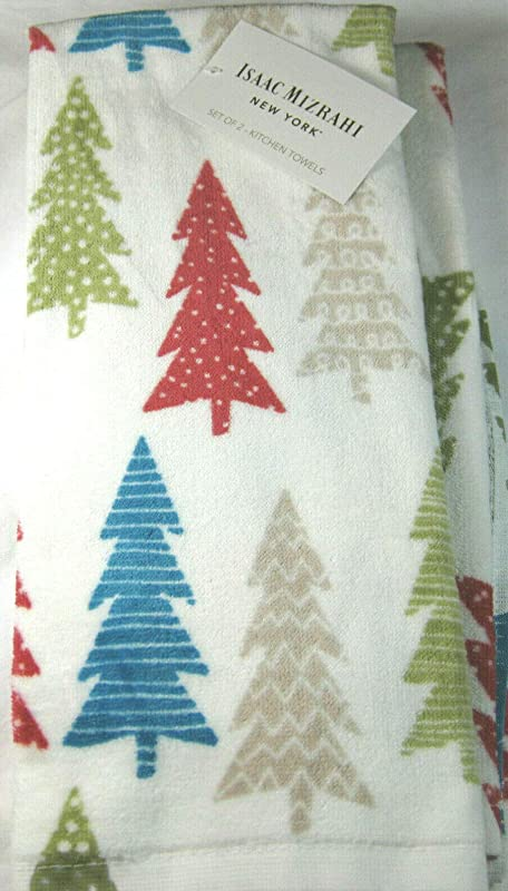 Set Of 2 Christmas Kitchen Towels Multi Colored Christmas Trees 100 Cotton White Waffle