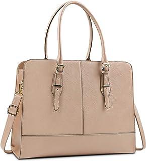Lubardy Handtasche Damen Shopper Damen Groß Wasserdicht 15.6 Zoll Leder Laptop Tasche für Büro Arbeit Business Schule Khaki